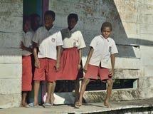 Schoolchildren in scooluniform. Royalty Free Stock Image
