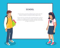 Schoolchildren from Secondary School with Backpack. School children from secondary school with backpacks, vector illustrations  with place for text. Pupils Royalty Free Stock Photo