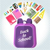 For schoolchildren. A set of stationery for schoolchildren, goods for creativity and study, Back to school Stock Photos
