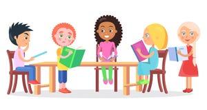 Schoolchildren Sitting at Desk and Reading Books vector illustration