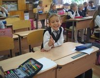 Schoolchildren sitting in a classroom, Russia. Schoolchildren sitting for desks in a classroom, Russia Stock Images