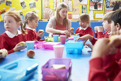 Schoolchildren With Teacher Sitting At Table Eating Lunch Stock Photo