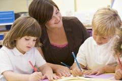 Schoolchildren and their teacher in a class