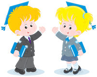 Schoolchildren with trencher-caps. Schoolgirl and schoolboy wearing mortarboards and holding textbooks Royalty Free Stock Photos