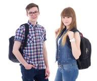 Schoolconcept - knappe tiener en mooi meisje met bedelaars Stock Foto