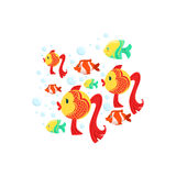 Schoold Of Fantastic Tropical Fishes: Goldfishes, Yellow And Stripy Red Coral Fishes. Colorful Cartoon Sea Nature Vector Illustration On White Background Stock Images
