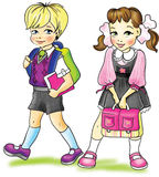 Schooler. The art  illustration   of a walking  first-form boy and a pretty first-form girl Royalty Free Stock Images