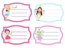 Schooletiketten met mooie vliegende fee Naamplaatjes, Stickers voor meisjes, leerlingsnotitieboekjes Royalty-vrije Stock Foto