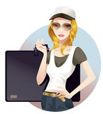 Schoolgirl. Young schoolgirl carrying her portfolio bag Royalty Free Stock Image