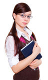 Schoolgirl. Teen schoolgirl with book, teen girl on white Stock Photography