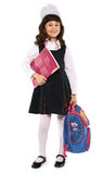 Schoolgirl. The little girl is ready to school Royalty Free Stock Images
