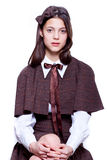 Schoolgirl. Teen school girl wearing old style formal clothes - isolated Stock Photos