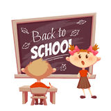 Schoolgirl answer lesson near school desk. Vector Royalty Free Stock Images