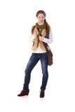 Schoolgirl in autumn style Royalty Free Stock Image