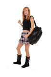 Schoolgirl with back bag. Royalty Free Stock Photos