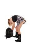 Schoolgirl with back bag. Stock Image