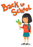 Schoolgirl and Back to school text vector template. Happy schoolgirl with backpack holding bouquet of flowers for her. Schoolgirl and Back to school text vector Royalty Free Stock Photography
