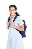 Schoolgirl with backpack Stock Images