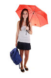 Schoolgirl with backpack. Royalty Free Stock Photos