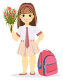 Schoolgirl with backpack and bouquet of flowers. Stock Photo