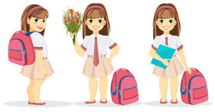 Schoolgirl with backpack, bouquet of flowers and textbook Stock Images