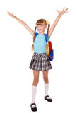 Schoolgirl with backpack hand up. Royalty Free Stock Photos