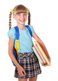 Schoolgirl with backpack holding books. Stock Photography
