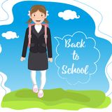 Schoolgirl with backpack on a landscape background. `Back to school` in the speech bubble. Vector illustration stock illustration