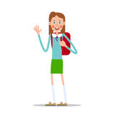 Schoolgirl with a backpack waving her hand. Schoolgirl with a backpack smiling and waving her hand. Illustration in flat style. Isolated Stock Image