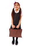 Schoolgirl with bag royalty free stock photos