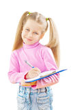 Schoolgirl with ballpoint pen and paperclip Royalty Free Stock Photos