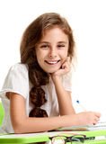 Schoolgirl with beaming smile. Portrait of young cheerful pretty schoolgirl with beaming smile Royalty Free Stock Images