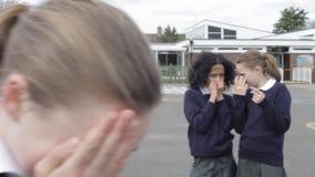 Schoolgirl Being Bullied In Playground stock footage