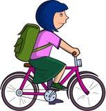 Schoolgirl on bike Stock Images