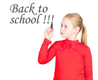 Schoolgirl with black marker in hand Royalty Free Stock Photo