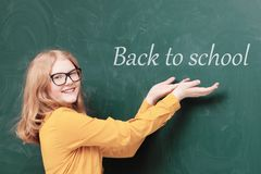 Schoolgirl at the blackboard. The schoolgirl at the blackboard royalty free stock photography