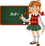 Schoolgirl with a blackboard. Fun small Schoolgirl with a blackboard Royalty Free Stock Photos