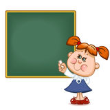 Schoolgirl at the  blackboard. Back to school. Cute schoolchild at the  blackboard to answer a lesson. Vector illustration Stock Photography