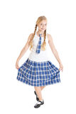 Girl dancing and doing a curtsy. Royalty Free Stock Image