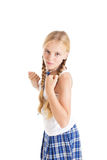 Girl in a fighting stance with clenched fists. Royalty Free Stock Photography