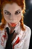 Schoolgirl with blood all over. Portrait of schoolgirl with blood all over Royalty Free Stock Photo