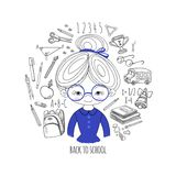 Schoolgirl blue color on white background in a circle vector ill Stock Photography