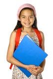 Schoolgirl with blue folder stock images
