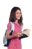 Schoolgirl with book. Schoolgirl with backpack holding book. Isolated on white Stock Images