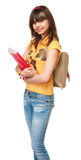 Schoolgirl with book and bag. The image  of Schoolgirl with book and bag Royalty Free Stock Image