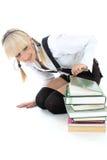Schoolgirl with books Stock Photos
