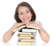 The schoolgirl with books. Stock Image