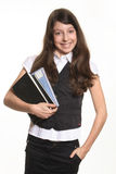 The schoolgirl with books Royalty Free Stock Photography
