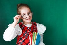 Schoolgirl with books on green board background. stock images