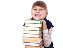 Schoolgirl with books i Stock Images